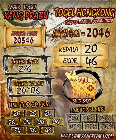 Prediksi HK Sabtu 06 Juni 2020 - Syair Kang Prabu