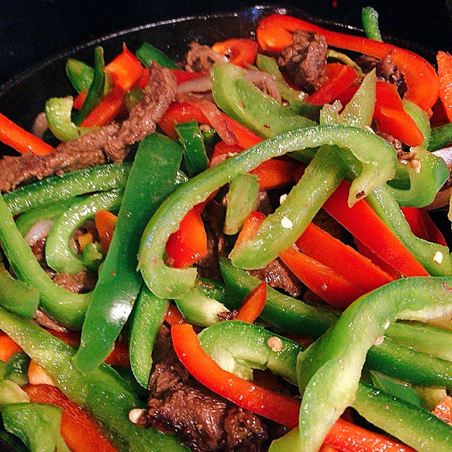 Steak Picado meat and bell peppers