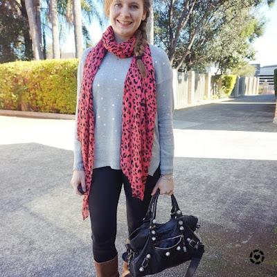 awayfromblue instagram leopard print neon scarf foil polka dot pullover skinny jeans Bal part time bag