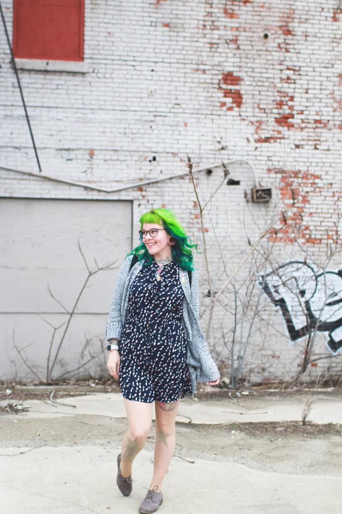 green hair, cleveland blogger, fashion blog, cleveland, ootd, kaylah doolan