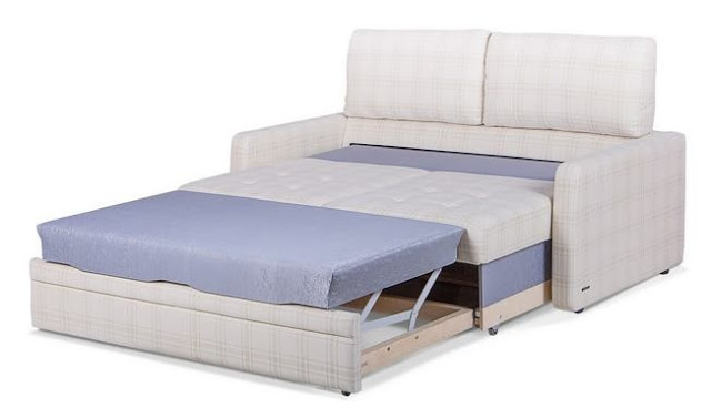 A pull-out sofa bed