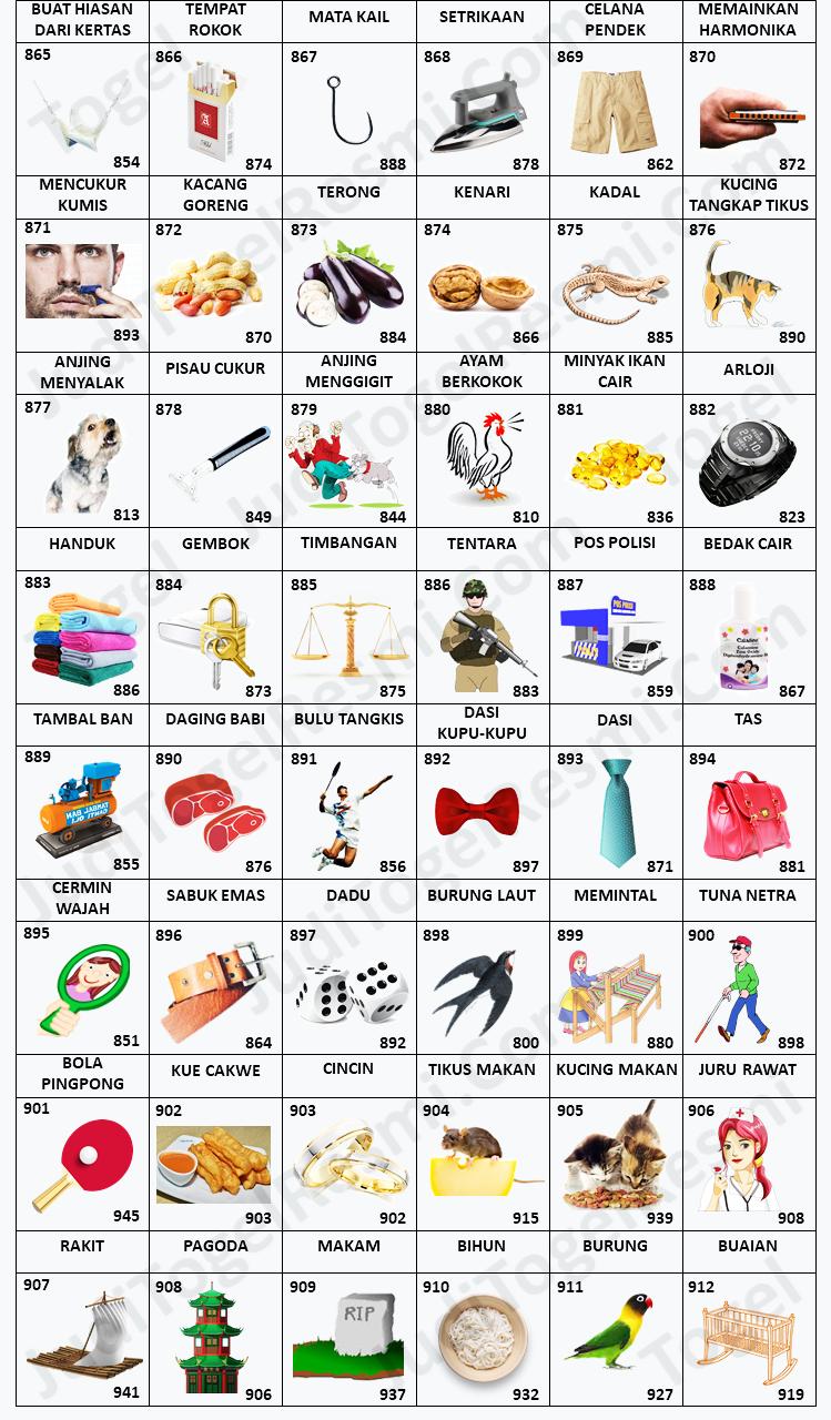 Buku Mimpi 3D Bergambar 865-912