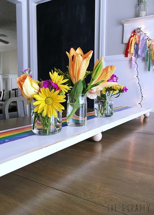 How to make a Wooden Rainbow Table Runner for Spring