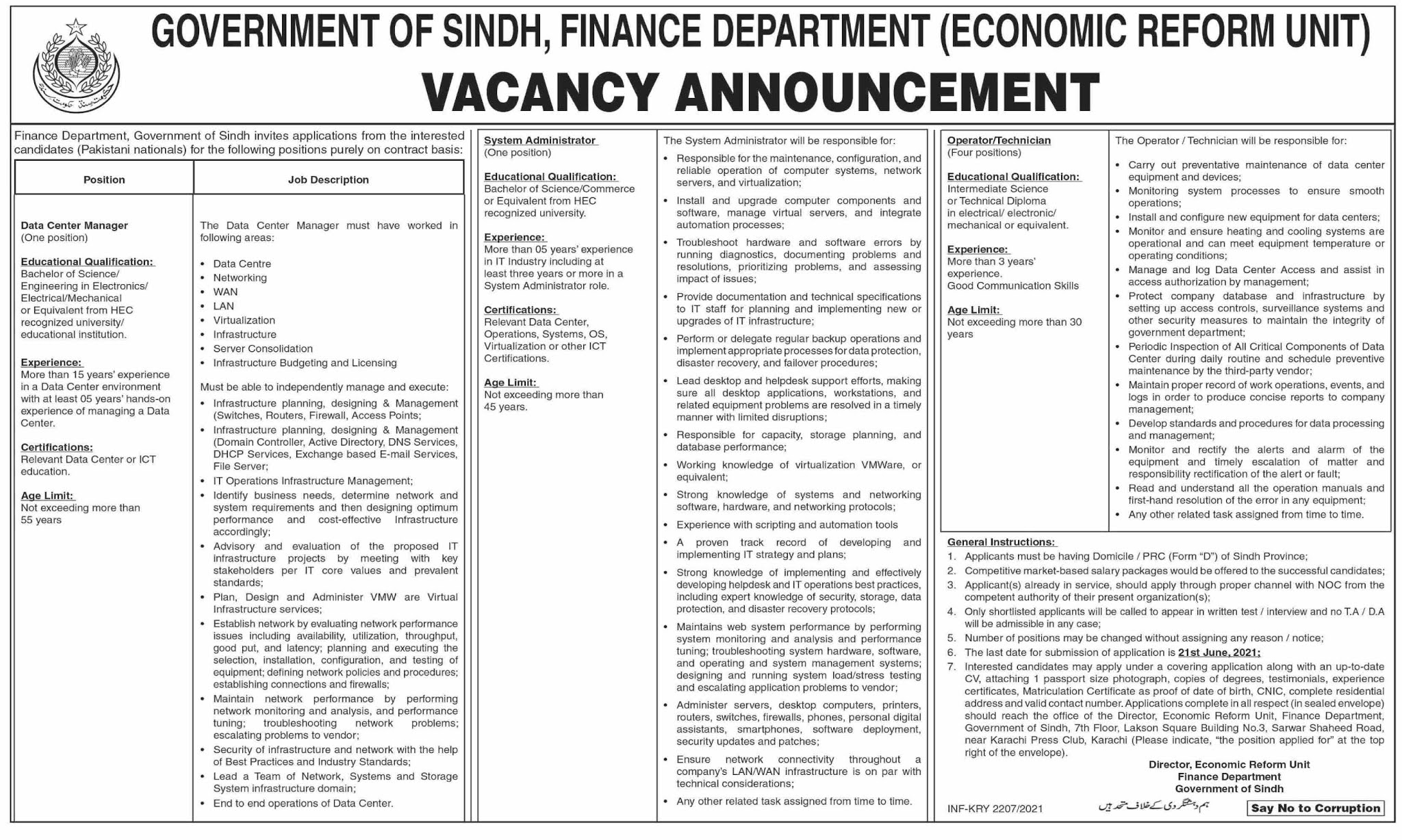 Finance Department Sindh (Economic Reform Unit) Jobs 2021 in Pakistan