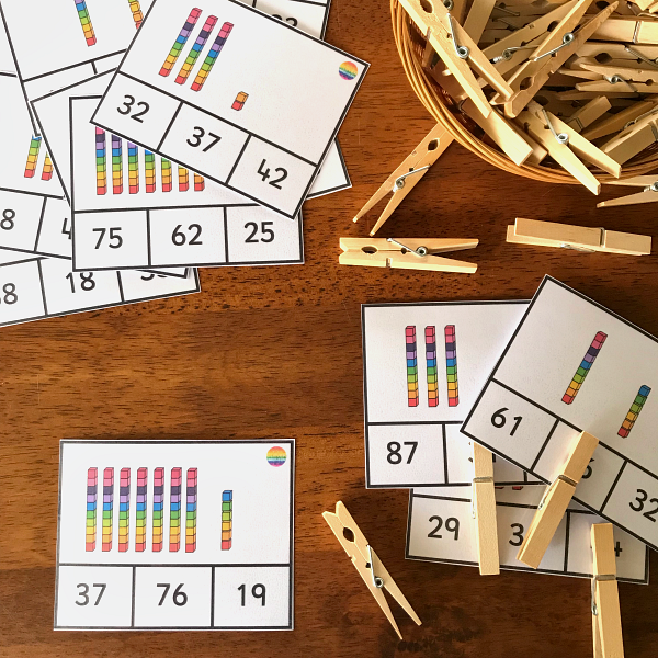 Base 10 Place Value Clip Cards | you clever monkey