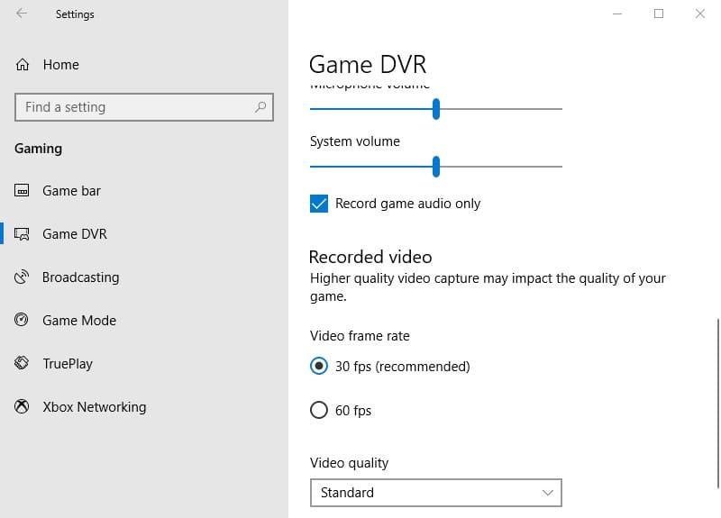 Setting Game DVR