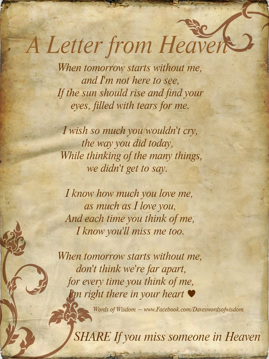 a letter to my dad in heaven daveswordsofwisdom september 2013 28771 | Letter from heaven