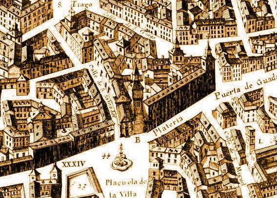 El plano de Texeira es un dibujo minucioso en vista aérea del los edificios y calles del Madrid de mediados del siglo XVII.