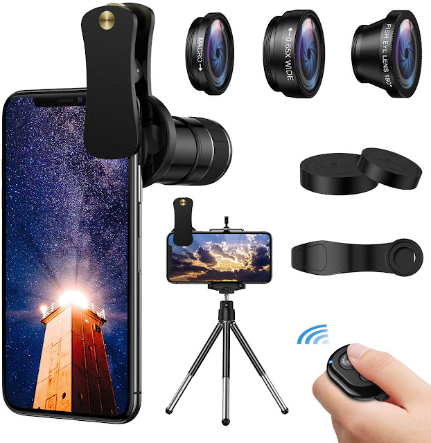 Macro Lens with Tripod Shutter Remote for iPhone & Samsung