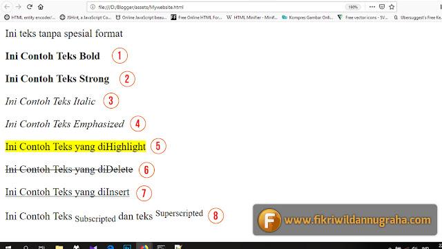 Belajar HTML Dasar Text Formatting Tag SEO Heading pelajaran pemula tutorial cara membuat website contoh coding notepad bahasa pemrograman lengkap singkatan css kode tag blog sederhana pengaruh judul title kualitas penting format bold italic coret h1 h2 h3