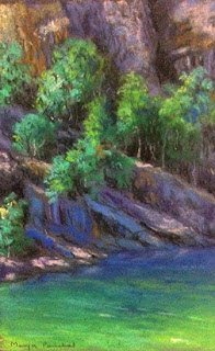 Soft pastel painting of scene at Florence falls, Melbourne. By Manju Panchal