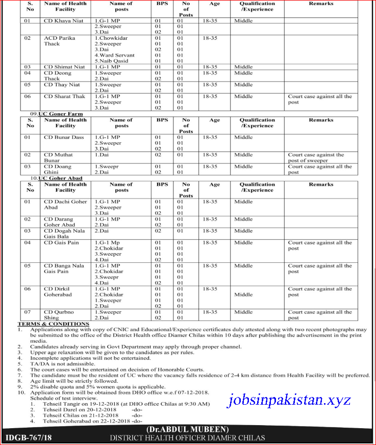 Advertisement for District Health Office Diamer Chilas Jobs November 2018