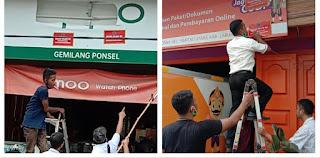 Bapenda dan Sat pol PP Labuhanbatu Tertibkan Papan Reklame Yang Tidak Taat Pajak