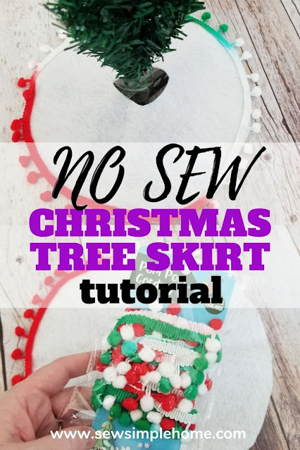 Craft your own diy mini Christmas tree skirt with this simple no sew tutorial.