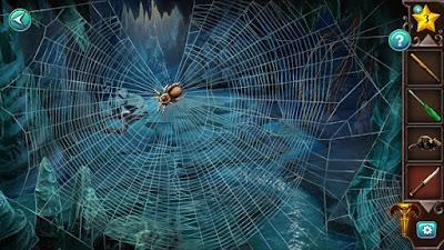 перед входом имеется паутина и в центре паук