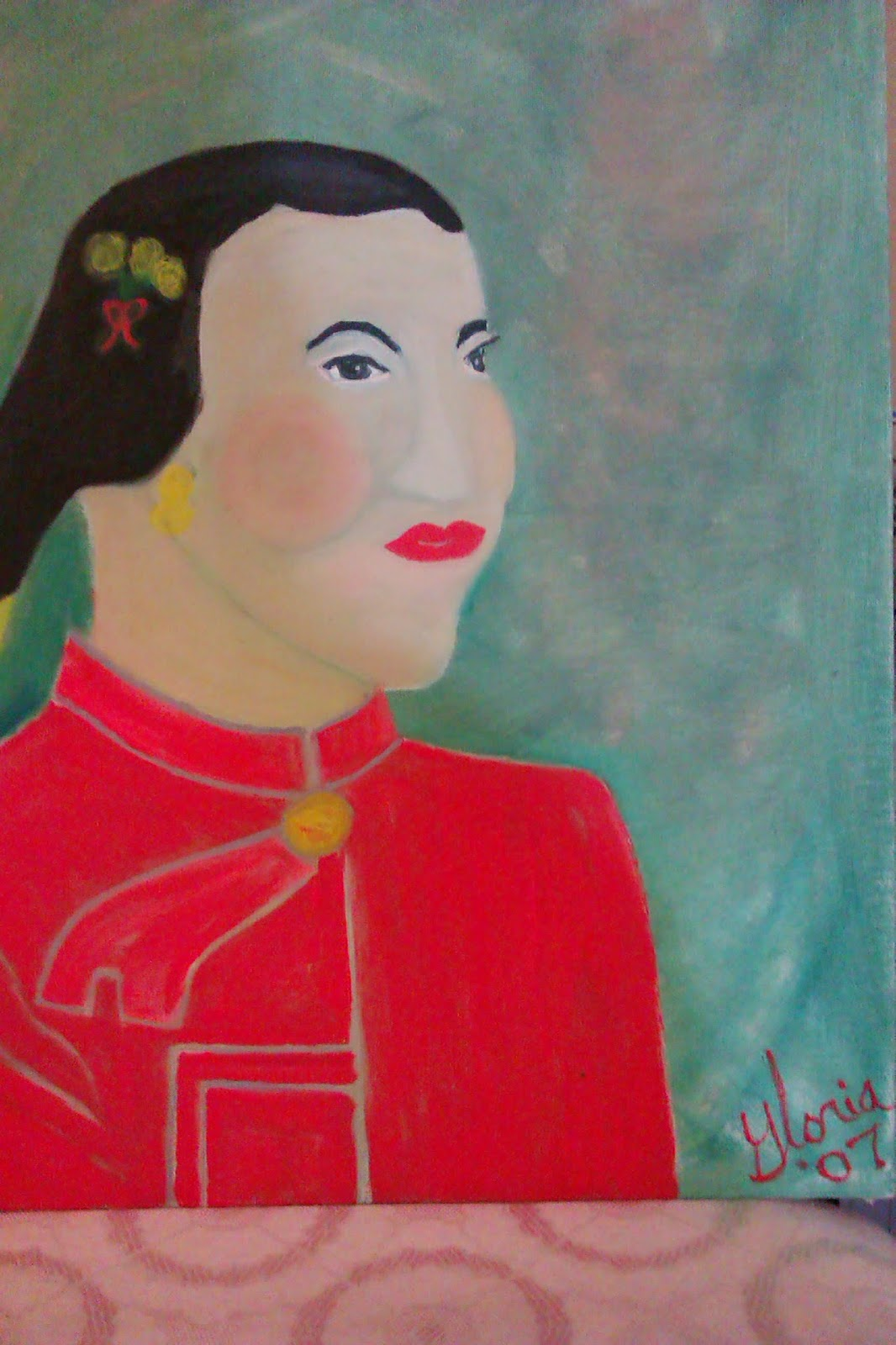 """Mandarin orange Lady"" oil painting by Gloria Poole; yr 2007"