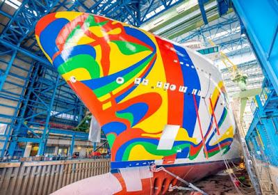 Hull Art for Norwegian Cruise Line's Norwegian Encore is Revealed at Germany's Meyer Werft Shipyard.