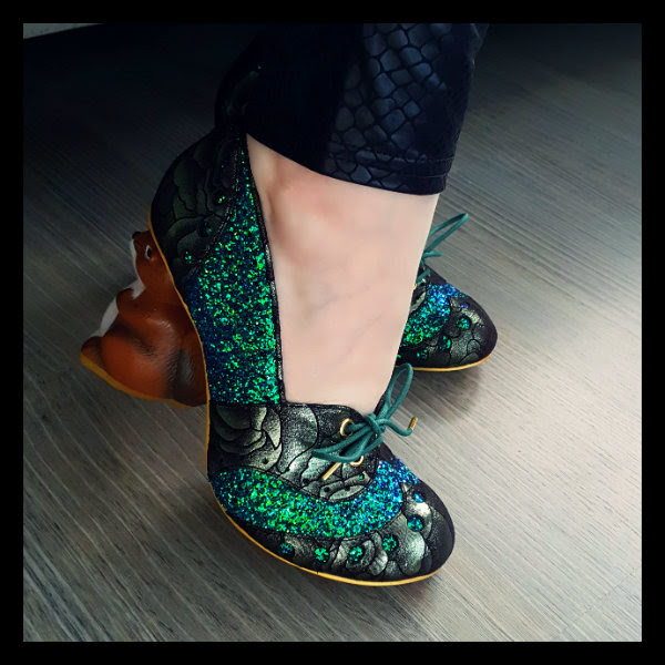 wearing irregular choice secret squirrel green glitter
