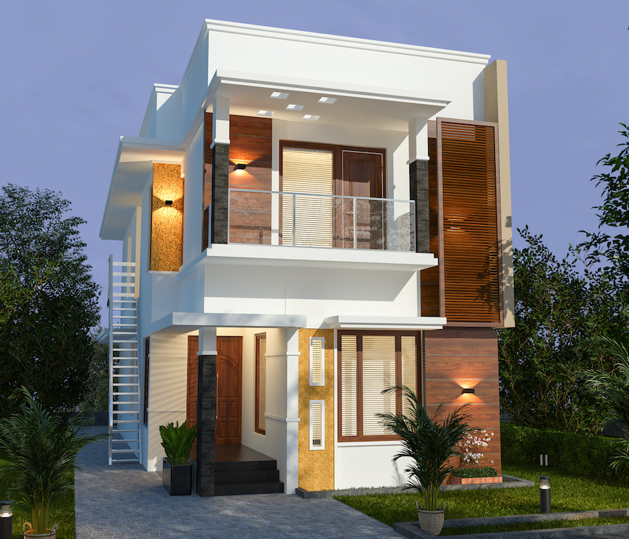 30 lakhs estimated cost  5 Bedroom Contemporary style front view