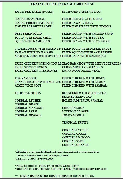 The teratai seafood restoran seremban 2 menu for Table 9 menu