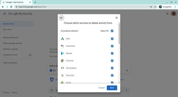 حذف البيانات الشخصية من جوجل