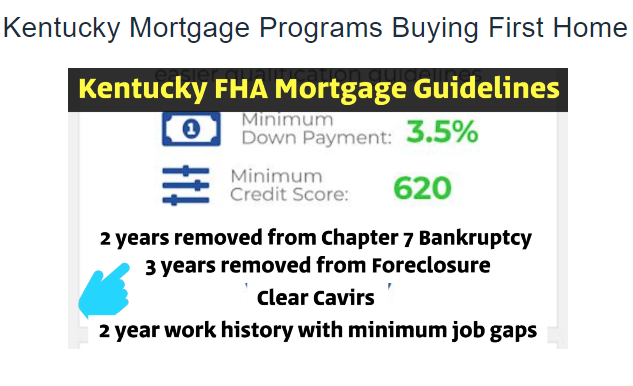Kentucky FHA Loan  FHA loans are good for home buyers with lower credit scores and no much down, or with down payment assistance grants.