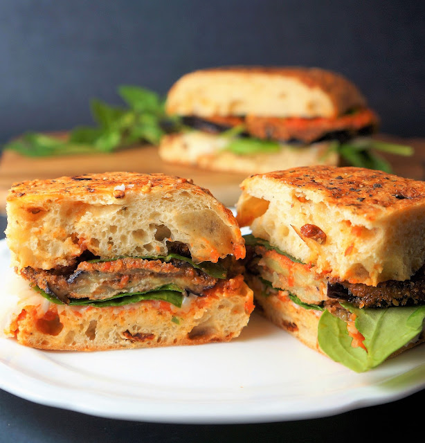 Eggplant Parmesan Sandwich on Herbed Ciabatta Bread
