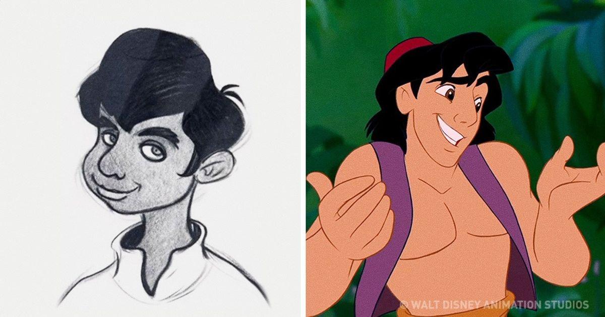 Como eram os primeiros desenhos dos personagens da Disney