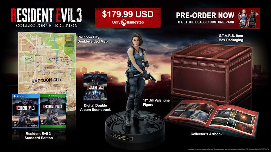 resident evil 3 remake capcom collector's edition pc steam ps4 xb1 exclusive classic costume pack jill valentine figurine printed art book raccoon city map wall reversible poster digital soundtrack carlos oliveira original design