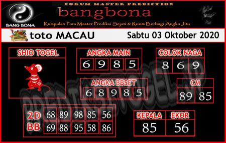 Prediksi Bangbona Toto Macau Sabtu 03 Oktober 2020