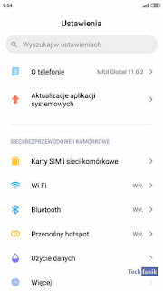 Xiaomi Redmi Note 4 MIUI 11 Ustawienia