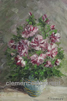 Parfum céleste, roses rouges et blanches en vase, huile 7 x 5 par Clémence St-Laurent