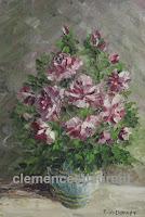 Parfum céleste, huile 7 x 5 par Clémence St-Laurent - roses rouges et blanches dans un vase
