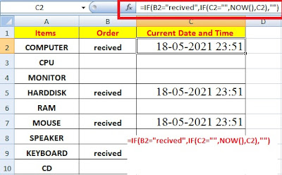 Insert Automatically Current Date and Time when Data Entered in Excel Column