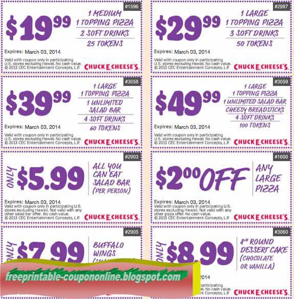 Chuck e cheese printable coupons 2018