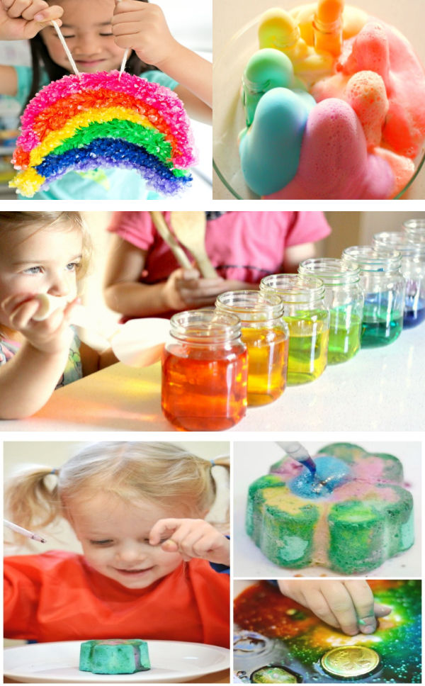 Wow kids of all ages with these fun & magical science experiments perfect for St. Patrick's Day! #stpatricksday #stpatricksdaycraftsforkids #scienceexperimentskids #rainbowexperimentsforkids #growingajeweledrose
