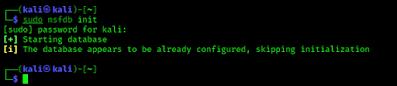 metasploit database configure