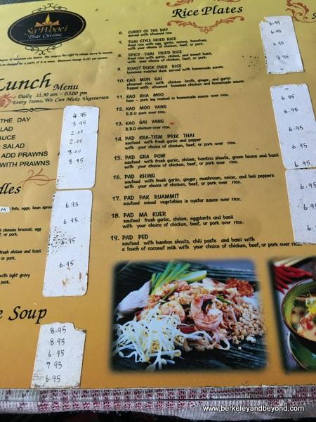 lunch menu at Sa Wooei Thai restaurant in El Cerrito, California