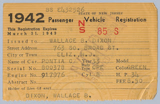This 1942 NJ Vehicle Registration gives the particulars of the 1933 Pontiac Coupe owned by Wallace B. Dixon. Privately held by his granddaughter, E. Ackermann, 2016.