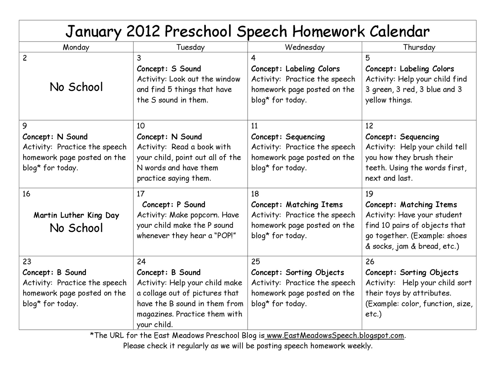 East Meadows Speech January Preschool Speech Homework Week 1