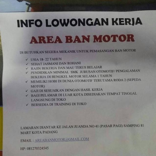 Lowongan Kerja Padang: Area Ban Motor Mei 2017