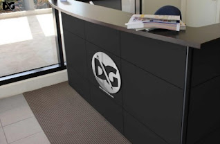 Office Reception Logo Mockup PSD