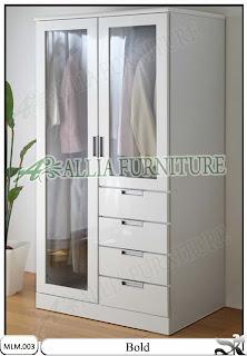 Lemari Baju Modern Minimalis Kaca Bold