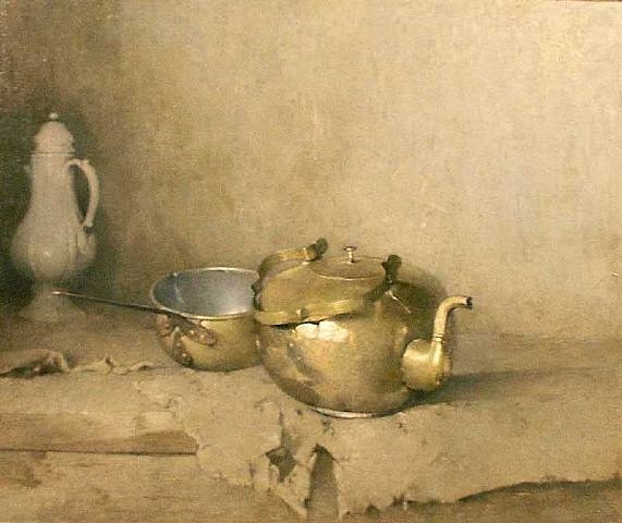 Magnificent still life of kitchen scene with brass teapot by Emil Carlsen Soren