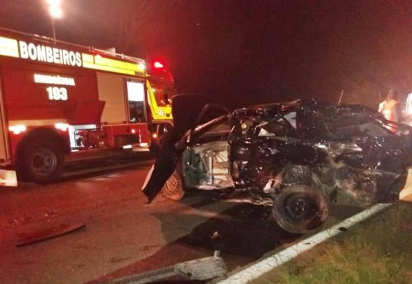 Acidente carro de Major Vieira na BR-116 em Papanduva
