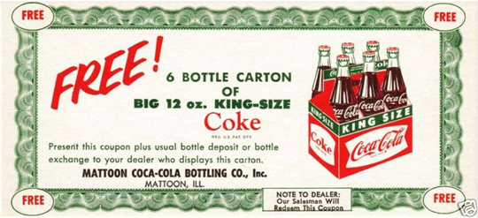 Coca Cola Free Sample Coupons Vintage Everyday