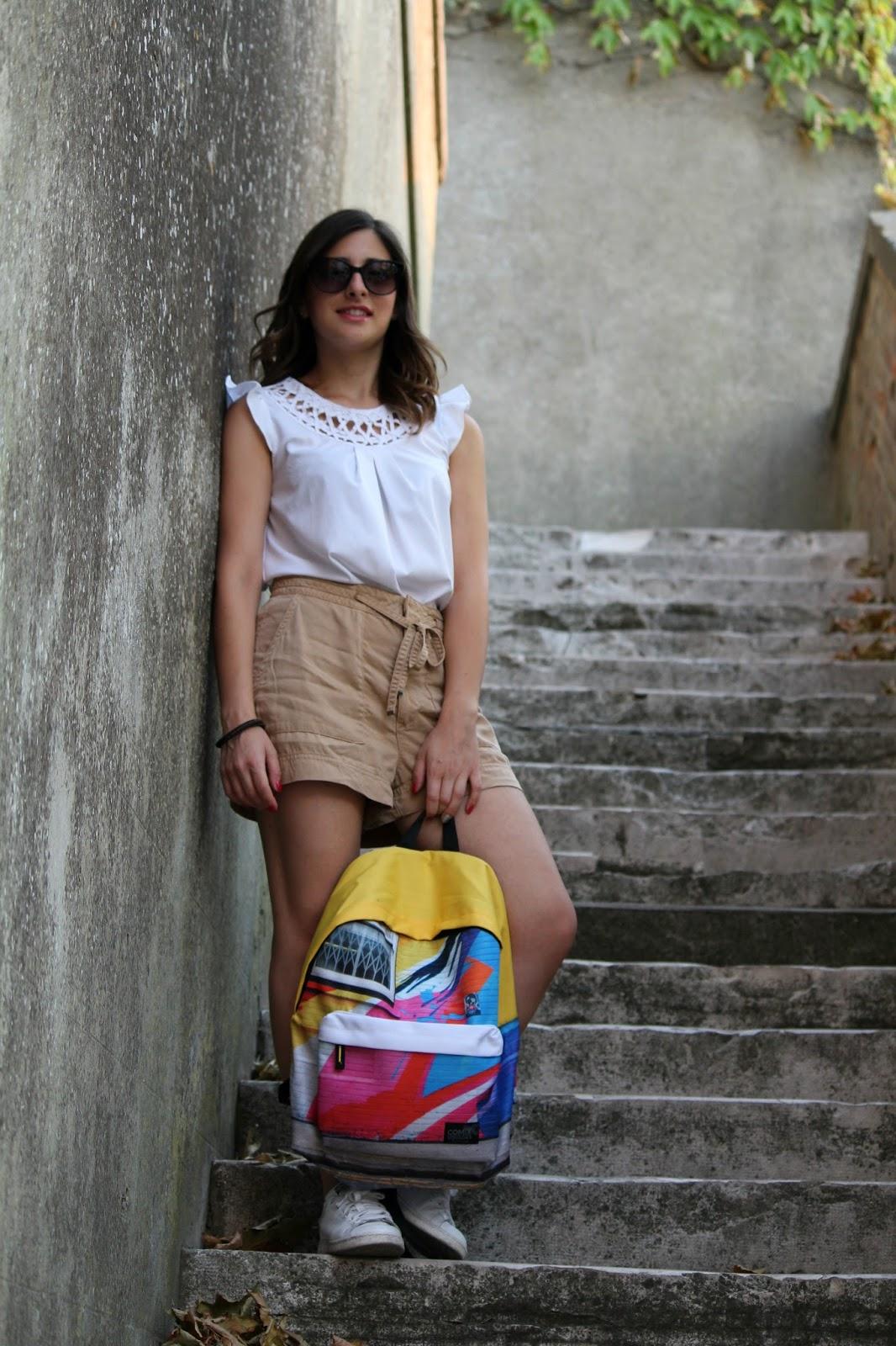 outfit ragazza, zaino scuola