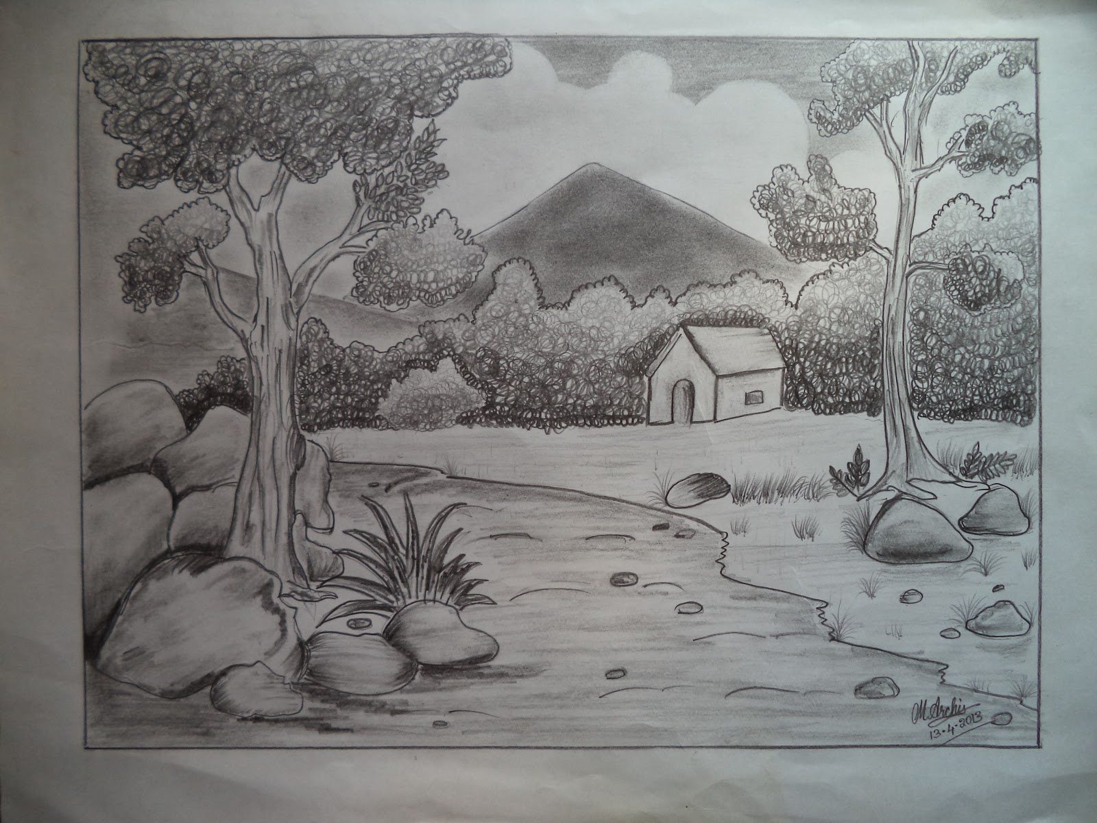 Pencil art nature sketch