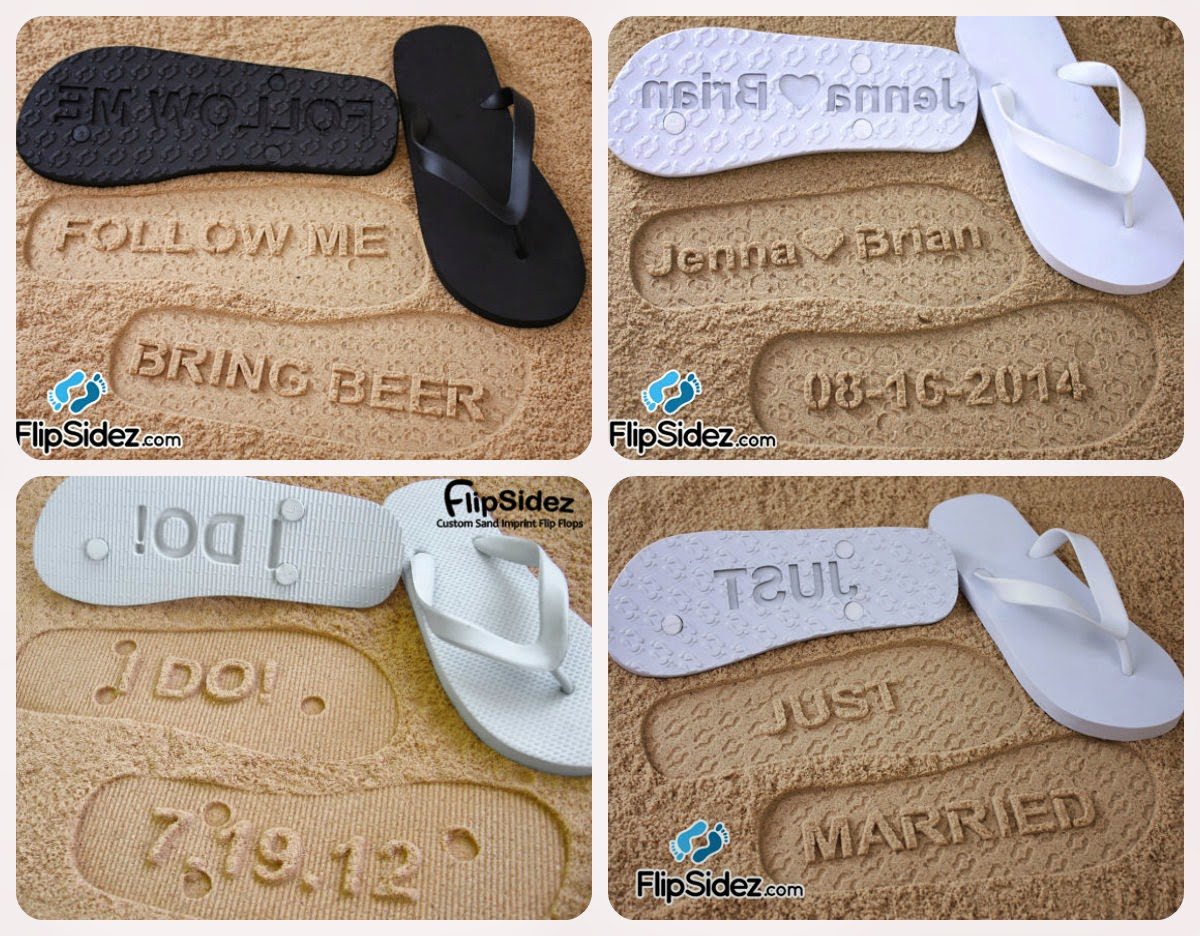 c86f357fd6ec Adora Wedding Accessories  Flip Sidez Custom Sand Imprint Sandals