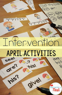Early Literacy Intervention for Spring and April- intervention packs are for Early Literacy Intervention for kinder through second grade students struggling with their reading skills.